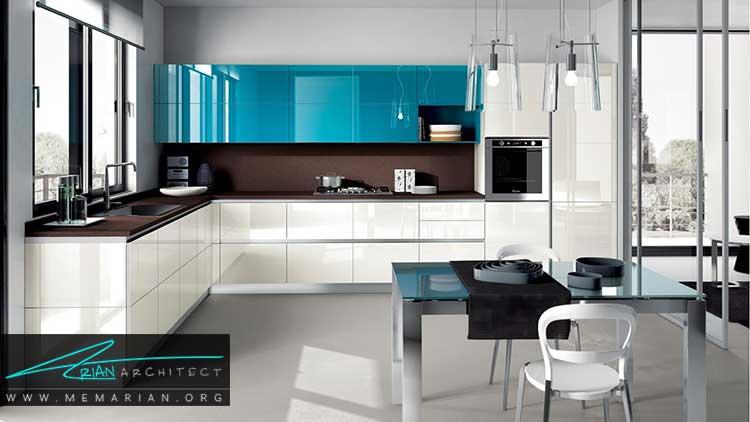 دکوراسیون آشپزخانه مدرن با سطوح براق