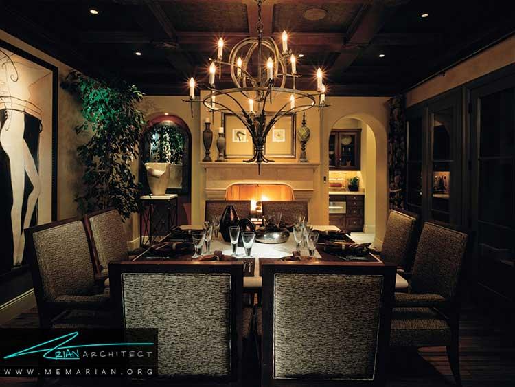 نور در دکوراسیون اتاق غذاخوری