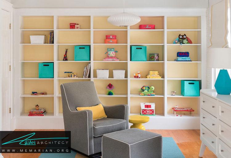 چیدمان قفسه ها در اتاق نوزادان و کودکان