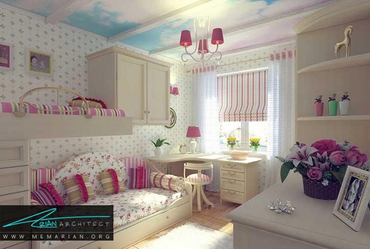 دکور اتاق دختران با فضای کافی