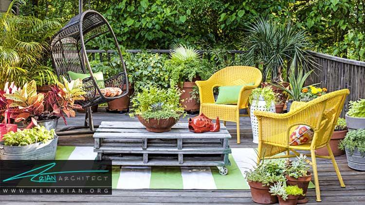 طراحی باغچه های کوچک با مبلمان فضای باز