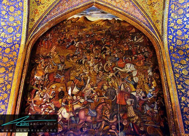 نقاشی دیواری از تزیینات ایرانی در معماری