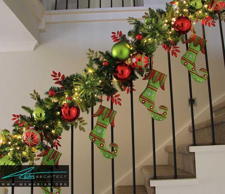 دکوراسیون راه پله ها برای کریسمس