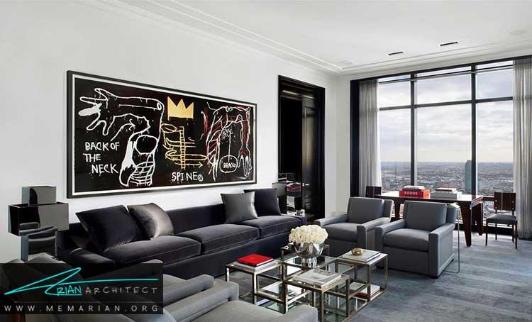 طراحی مدرن اتاق نشیمن در آپارتمان های آمریکا