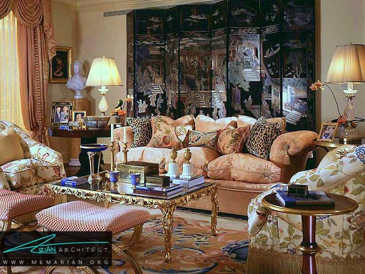طراحی اتاق نشیمن باشکوه آمریکایی