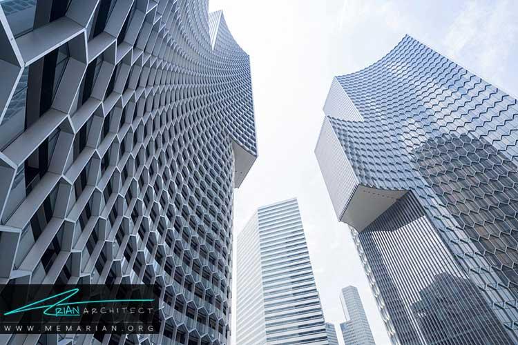 نمای الگوی شش ضلعی آسمان خراش در سنگاپور