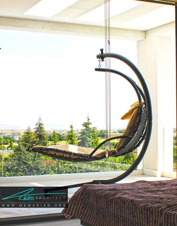 استفاده از صندلی های آویزان برایدکوراسیون بالکن