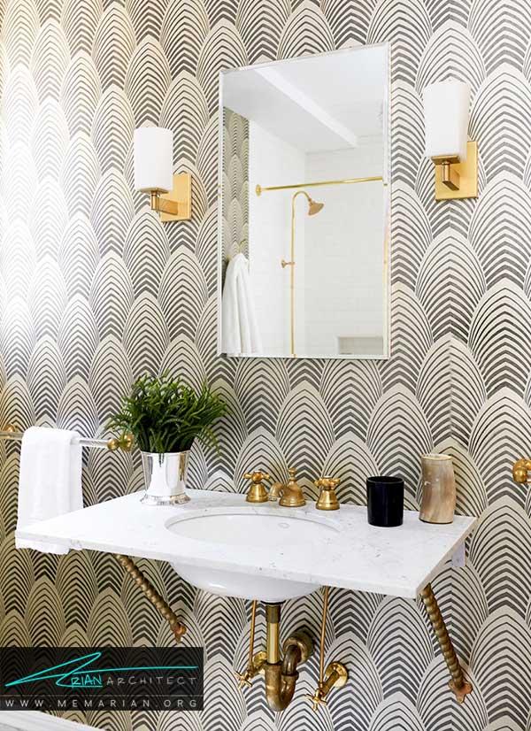 استفاده از کاغذ دیواری در دکوراسیون حمام و سرویس بهداشتی