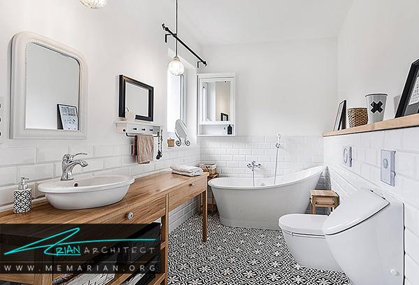کف پوش های طرح دار دردکوراسیون حمام های مدرن