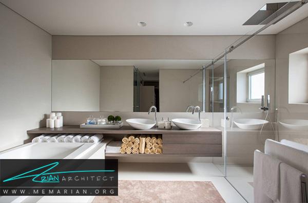 حوله های رول شده در حمام از ترند های جدید برای دکوراسیون حمام های مدرن