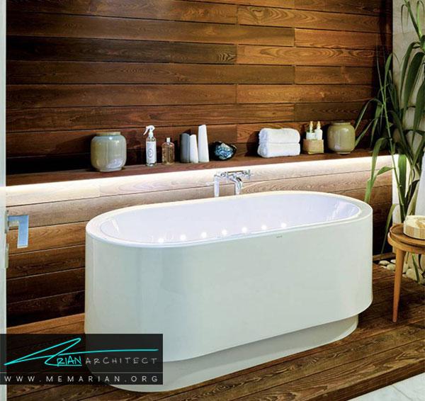 وجود چوب دردکوراسیون حمام های مدرن