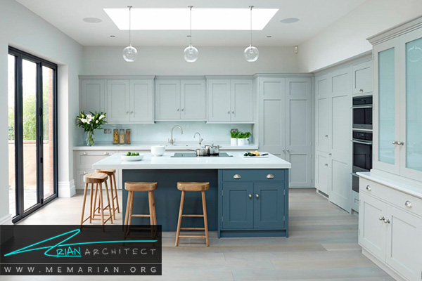 مدرن، درخشان، دقیق بودن در آشپزخانه های رنگارنگ