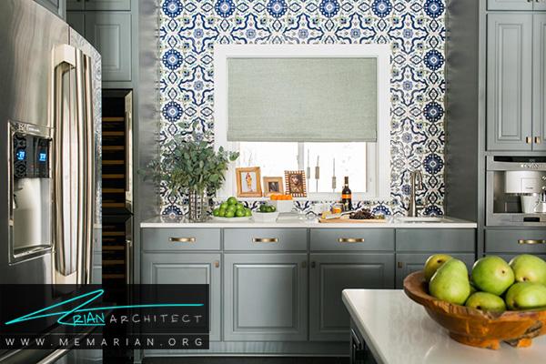 دیوارهای رنگارنگ و طرح دار در آشپزخانه های رنگارنگ