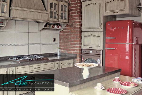 یخچال قرمز درآشپزخانه های رنگارنگ