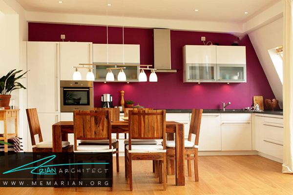 دیوارهای رنگارنگ در آشپزخانه های رنگارنگ
