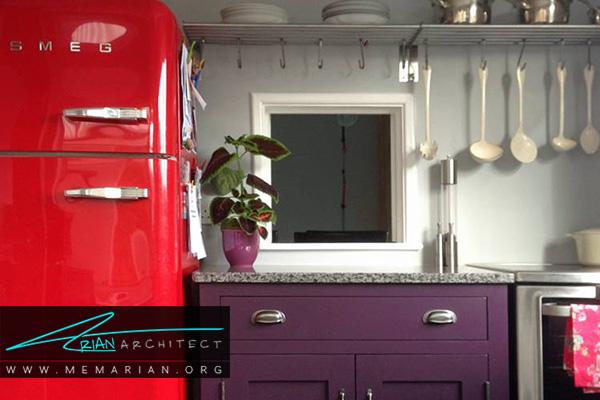زیبایی حاصل از ناسازگاری رنگ ها درآشپزخانه های رنگارنگ