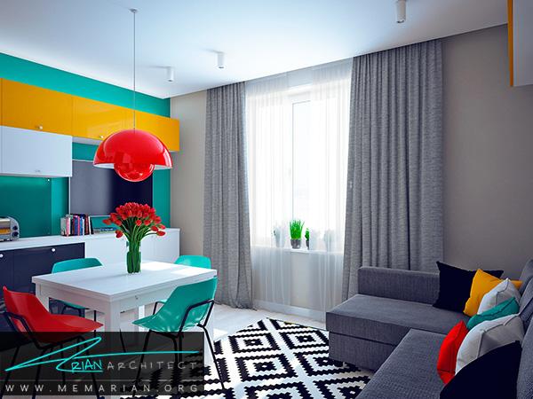 رنگ خاص در فضا در دکوراسیون خانه های کوچک