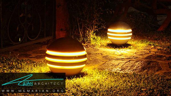 چراغ های توپی از انواع چراغ های باغچه
