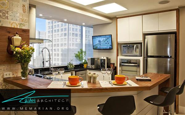 دکوراسیون آشپزخانه های اپن به شکل بار