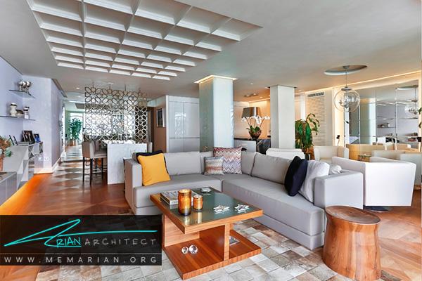 سالن پذیرایی مدرن در دکوراسیون آپارتمان ها کوچک