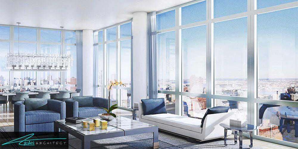 نمونه ای از دکوراسیون آپارتمان ها کوچک با چیدمان مدرن