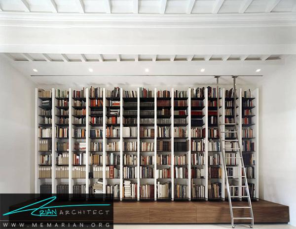 چیدمان کتابخانه برای دکوراسیون بهازی
