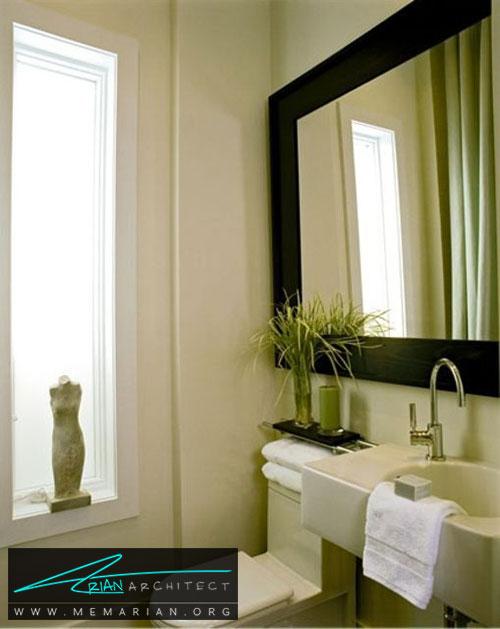 آینه نقطه کانونی در حمام - 13 نمونه از زیباترین دکوراسیون آینه حمام