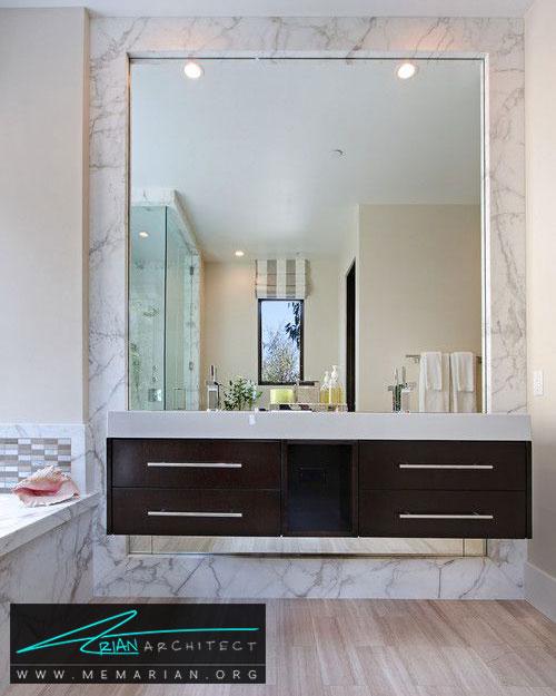 قاب آینه از سنگ مرمر - 13 نمونه از زیباترین دکوراسیون آینه حمام
