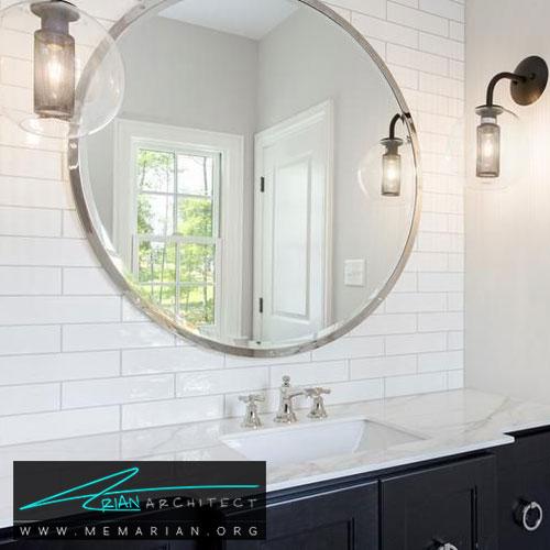 دکوراسیون آینه گرد - 13 نمونه از زیباترین دکوراسیون آینه حمام
