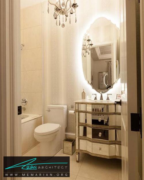 نورپردازی آینه ها در حمام - 13 نمونه از زیباترین دکوراسیون حمام با آینه های بزرگ