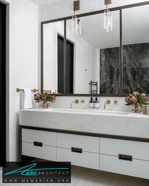 قاب آینه ها در حمام های مدرن - 13 نمونه از زیباترین دکوراسیون آینه حمام