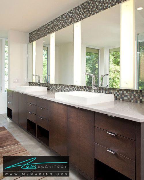 روشنایی آینه های حمام - 13 نمونه از زیباترین دکوراسیون آینه حمام