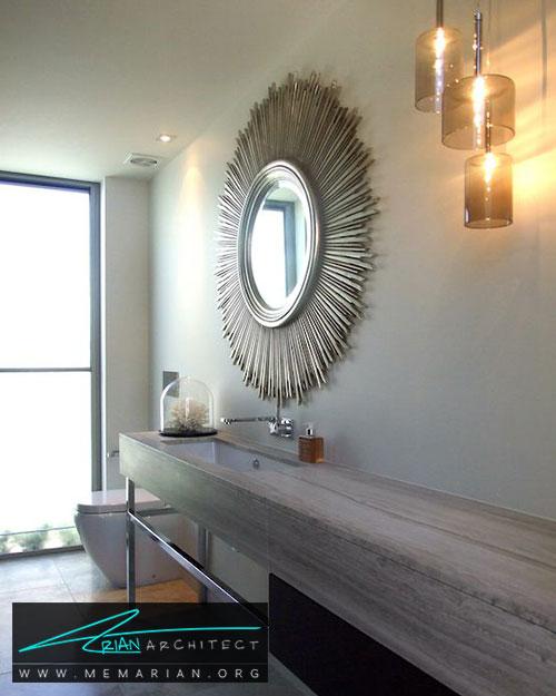 قاب خورشیدی آینه های حمام - 13 نمونه از زیباترین دکوراسیون آینه حمام
