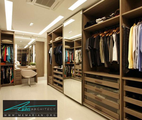 آینه در اتاق لباس - طراحی اتاق لباس در خانه مستلزم رعایت چه نکاتی است؟