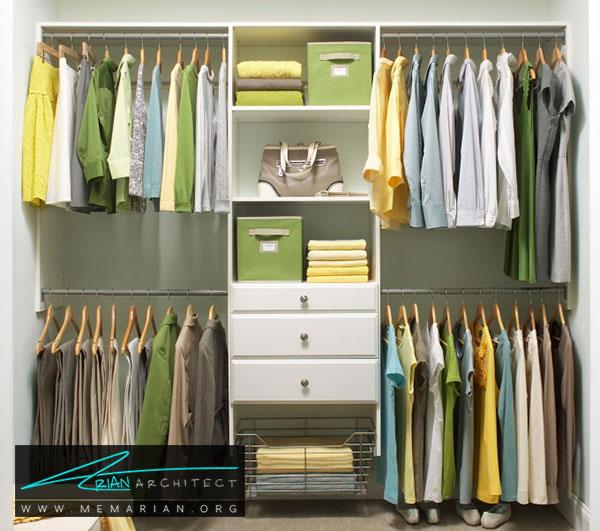 کمد و کشو ها در اتاق لباس - طراحی اتاق لباس در خانه مستلزم رعایت چه نکاتی است؟