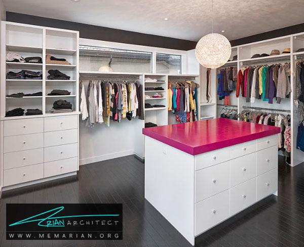 کمد جزیره ای در اتاق لباس - طراحی اتاق لباس در خانه مستلزم رعایت چه نکاتی است؟