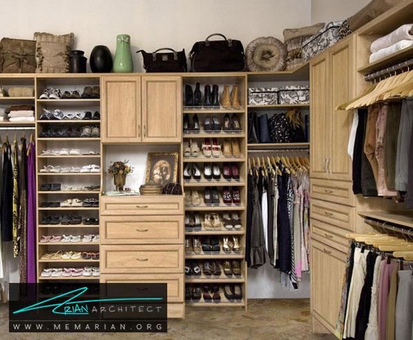 قفسه بندی باز در اتاق لباس - طراحی اتاق لباس در خانه مستلزم رعایت چه نکاتی است؟