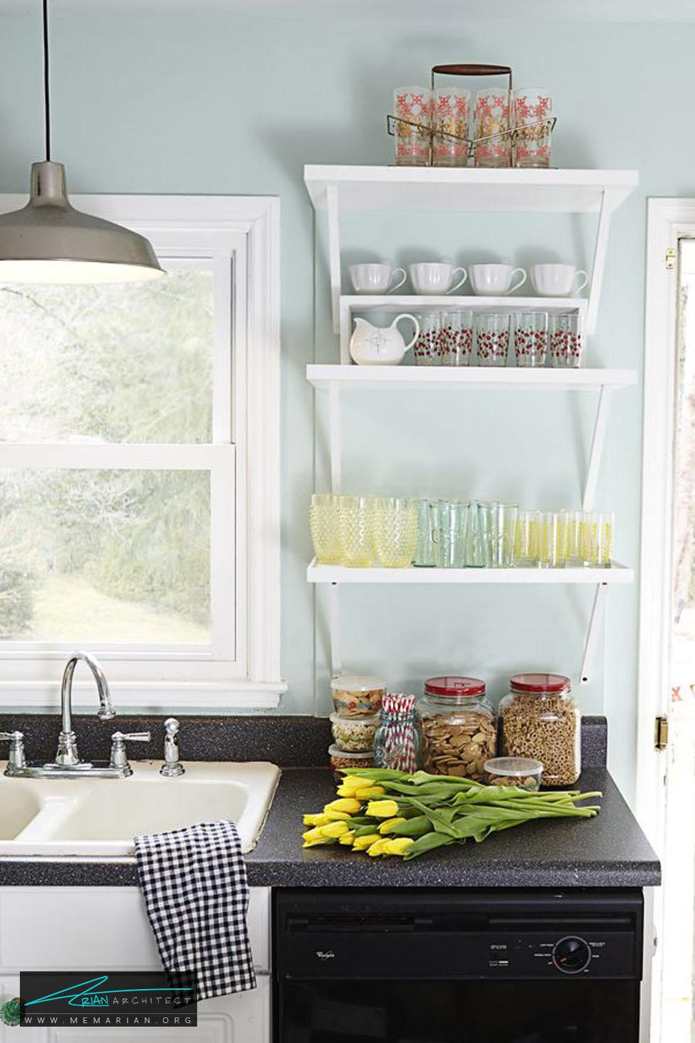 سطوح قفسه بندی شده - 20 ایده جذاب برای چیدمان دکوراسیون آشپزخانه
