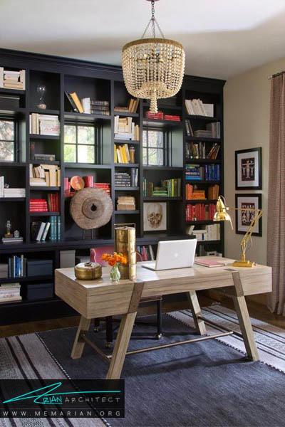 رنگ بندی و دکوراسیون کتابخانه - 10 دکوراسیون دفتر کار که به شما انگیزه کار می دهد