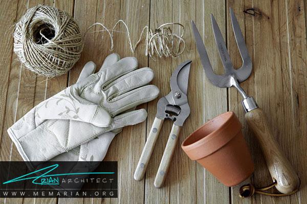 ابزار باغبانی - طراحی باغچه ارگانیک در حیاط خانه