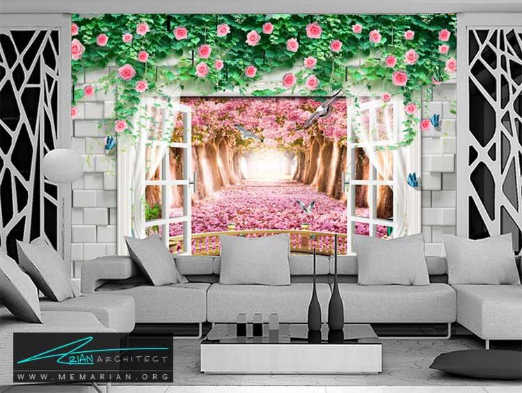 کاغذ دیواری گلدار در اتاق پذیرایی - 10 ایده عملی برای دکوراسیون پذیرایی شاد