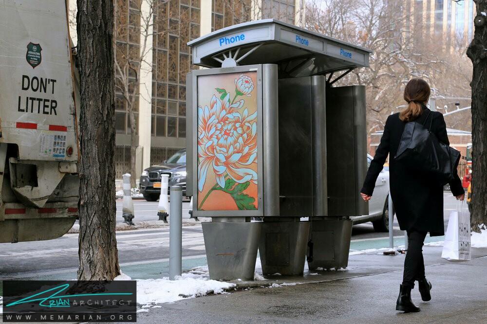 اثار هنری در مکان های تبلیغاتی غرفه های تلفن عمومی - آثار هنری خیابانی