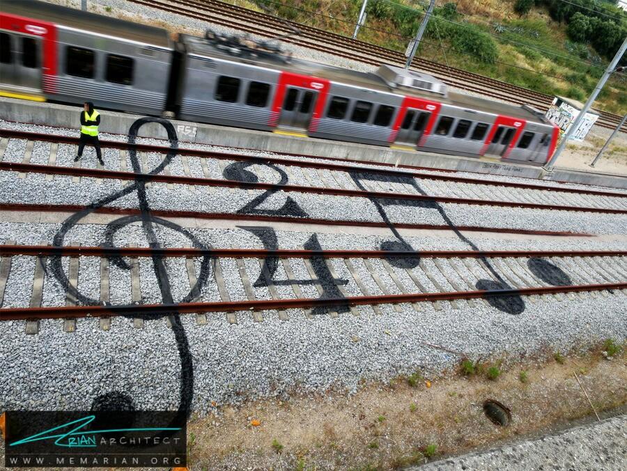 هنر نقاشی روی ریل قطار راه آهن - آثار هنری خیابانی