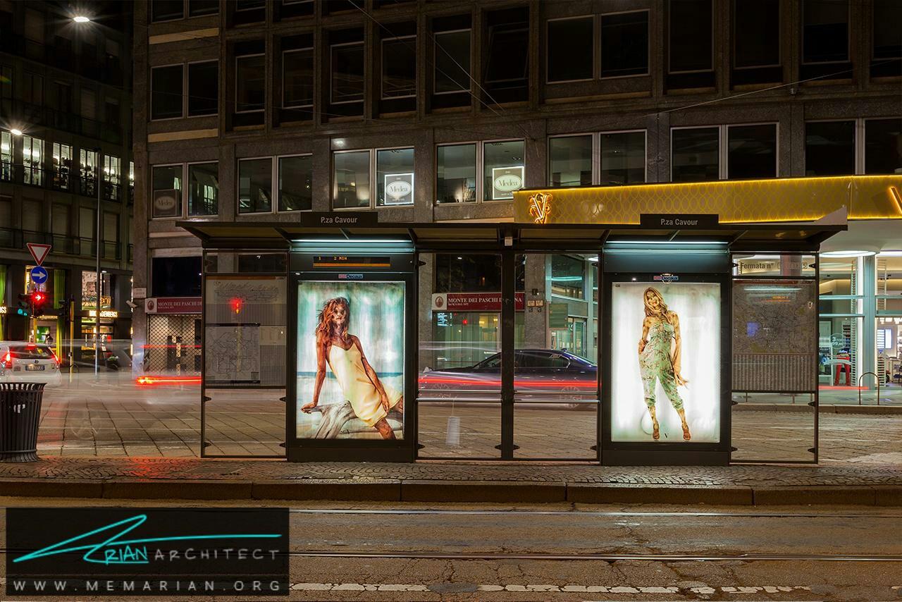 تبلیغات هنری در تابلو های ایستگاه اتوبوس - آثار هنری خیابانی