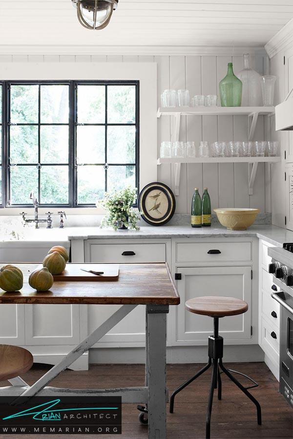 سبک صنعتی - دکوراسیون رنگ سفید در آشپزخانه