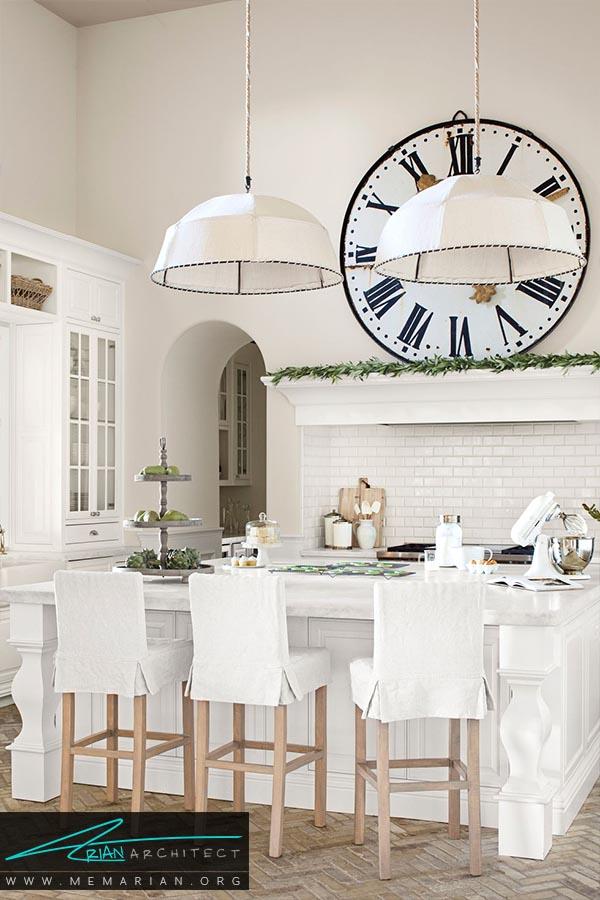 بزرگ و روشن - دکوراسیون رنگ سفید در آشپزخانه