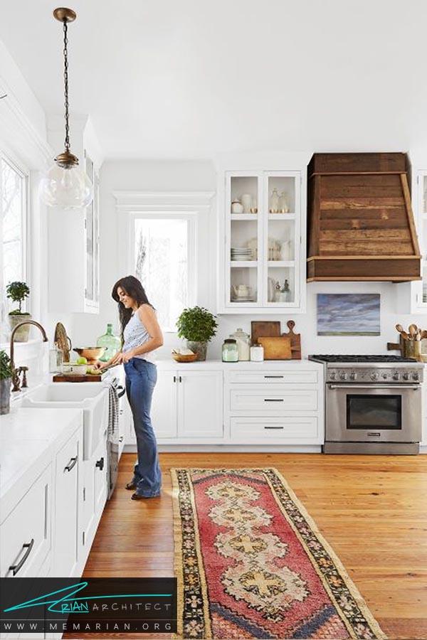 ضرب آهنگ چوب ها - دکوراسیون رنگ سفید در آشپزخانه