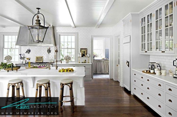 کفپوش های تیره - دکوراسیون رنگ سفید در آشپزخانه
