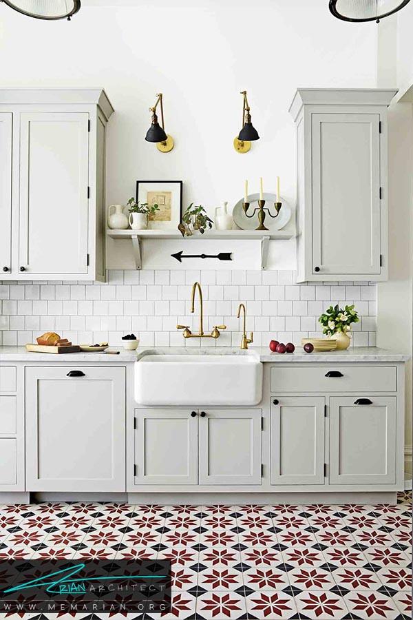 کاشی های طرح دار - دکوراسیون رنگ سفید در آشپزخانه