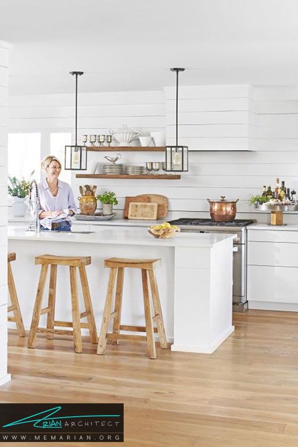 فضای باز - دکوراسیون رنگ سفید در آشپزخانه